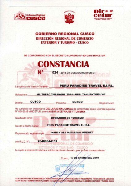 CONSTANCIA DIRCETUR