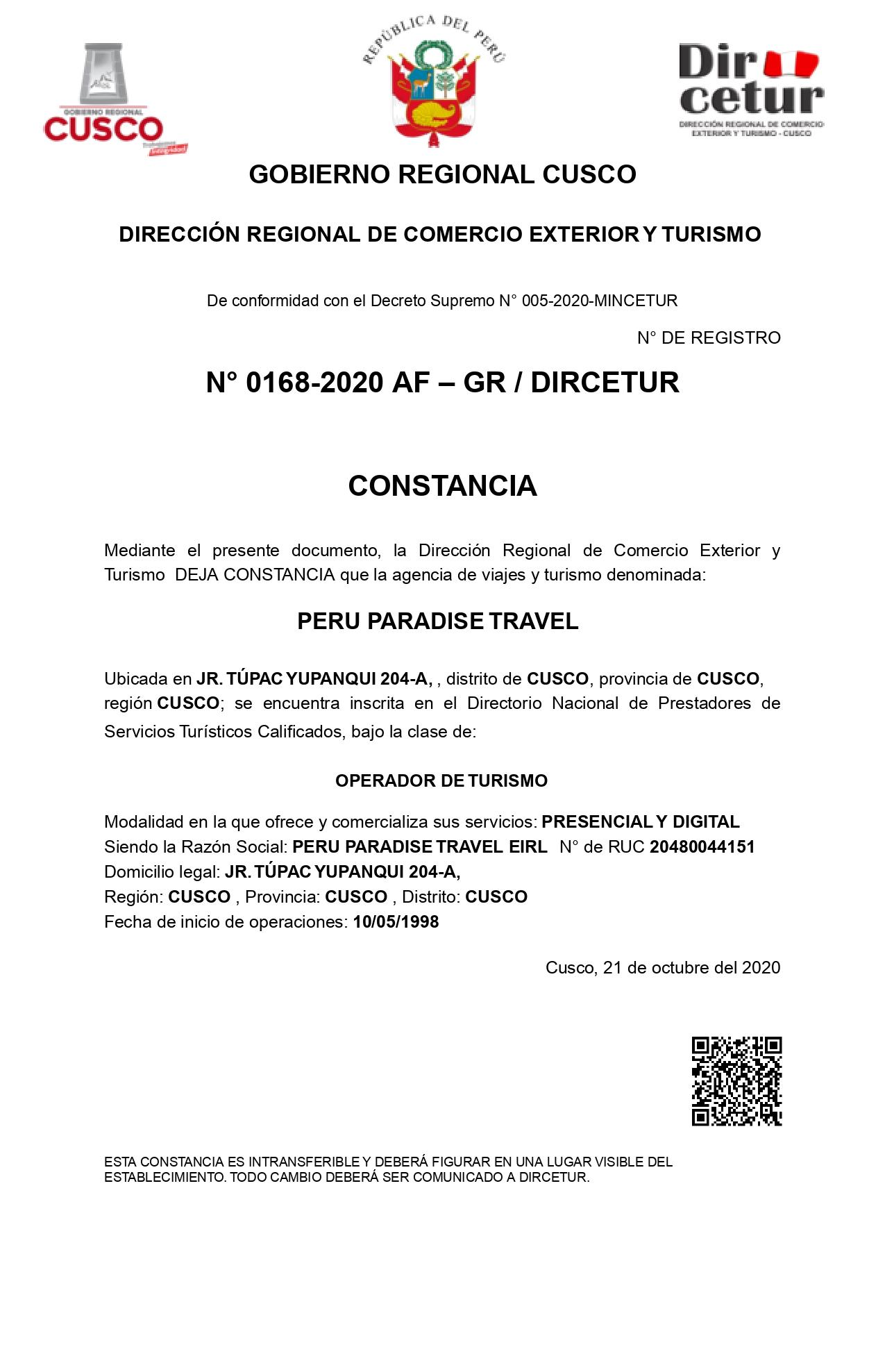 Certificado Servicios Turisticos